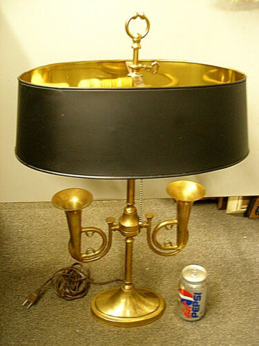 RARE VINTAGE 1950's Brass French Horn Bouillotte Table Lamp - Metal Shade gold