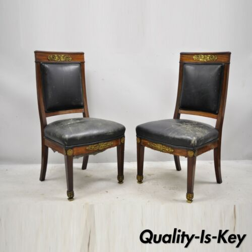 French Empire Solid Mahogany Regency Side Chairs Figural Bronze Ormolu - a Pair