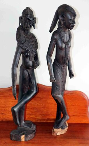 Antique Wooden Ironwood Carved Figurines African Tribal Figures Tall 54-55cm