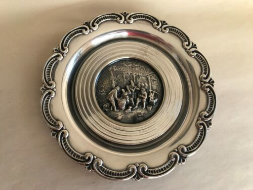 VINTAGE HANS JENSEN DENMARK SILVER PLATED BOTTLE COASTER HIGH RELIEF REPOUSSE