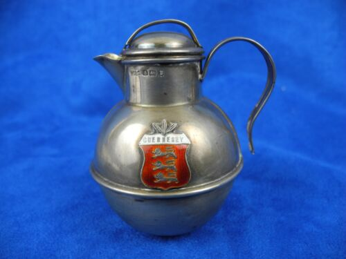 "Antique Sterling Silver Birmingham Lidded Jug ""W.G&S w/ Enameled Coat of Armor"