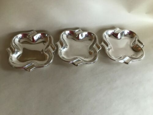3 STERLING SILVER INDIVIDUAL STACKABLE 925 ASTRAYS ASH TRAYS