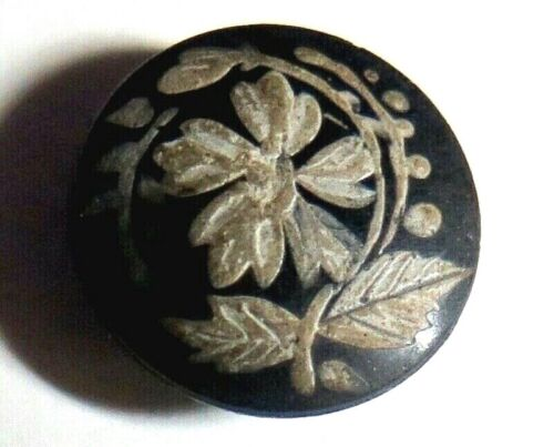 SML Black Glass with Fired Enamel Button - Flower, Floral