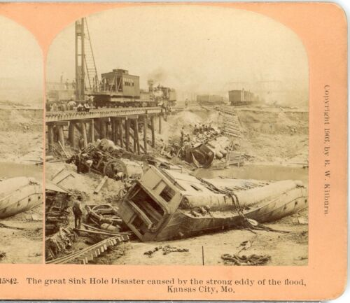 Great Flood Kansas City,Mo. Railroad Cars in Sink a Hole--Kilburn Stereoview B84