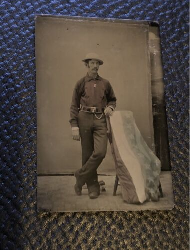 Excellent Antique Tintype Photo Handsome Fireman with Tinted US Flag or Bunting