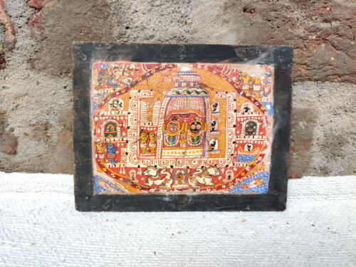 1930s Vintage Rare Jaggannath Puri Hand Painting On Wooden Manuscript Book Cover