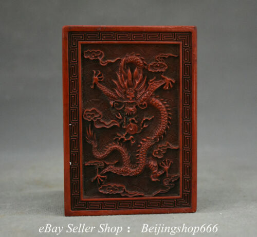 "4.4"" Marked Ancient China Red Lacquerware Dynasty Palace Dragon Vessel Box"