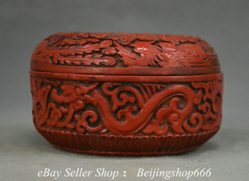 "4.4"" Marked Old Chinese Red Lacquerware Dynasty Dragon Phoenix jewelry Box"