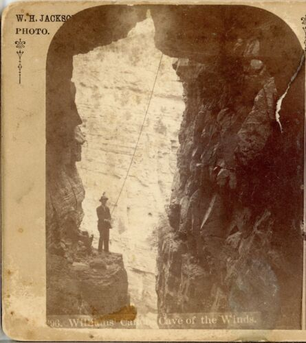 "W.H. JACKSON, Man Standing at ""Cave of the Winds""--Stereoview  C74"
