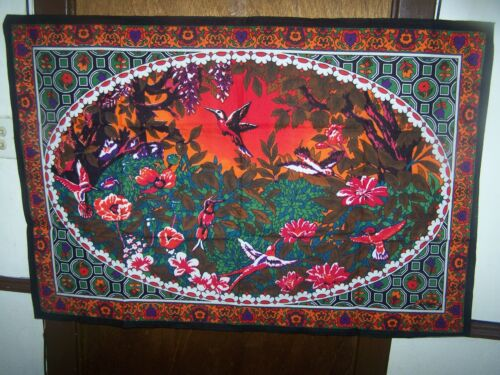 COTTON PRINTED TAPESTRIES BIRDS AND FLOWERS - 54 X 35  -TURKEY-WALL DECORATION