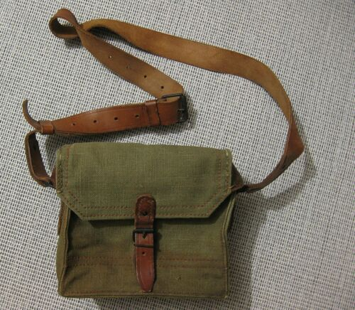 FRENCH ARMY Musette Mle 1950 bag pouch Indochina Algeria Early StyleOriginal Period Items - 586