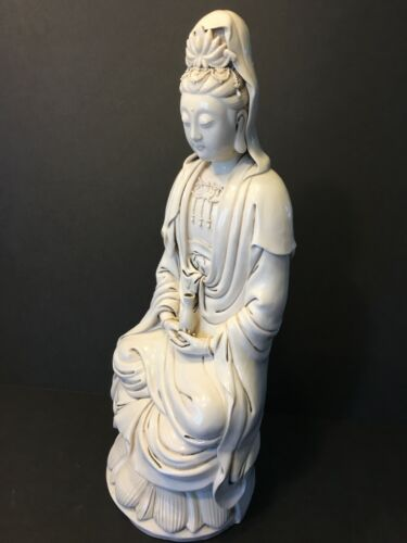 An Old Chinese Blanc de Chine Porcelain Seated Guanyin, 18""