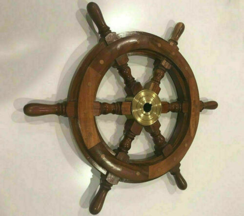 """18"""" Brass Ship Steering Wheel Pirate Wooden Nautical Décor Wood Wall Boat Gift"""