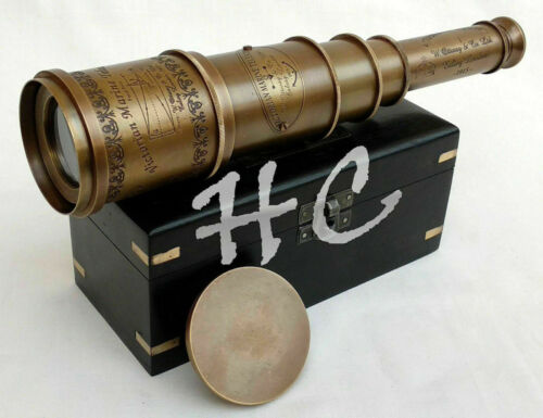 Telescope Vintage Victorian Nautical Marine Antique Brass Ship With Wooden Box
