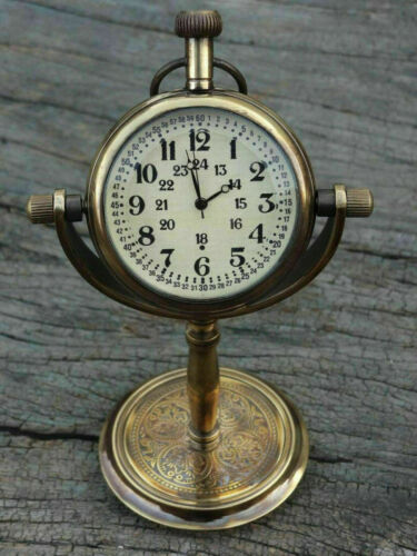Table Clock Solid Brass Stand Nautical Maritime Antique~Hanging Desk Decor Watch