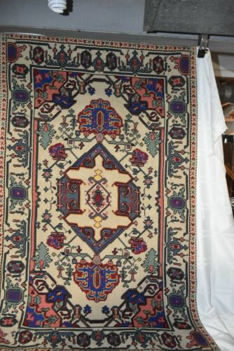 Caucasian Design Needlepoint Wool Rug Tapestry Wall Hanging 2.6x4' Nice