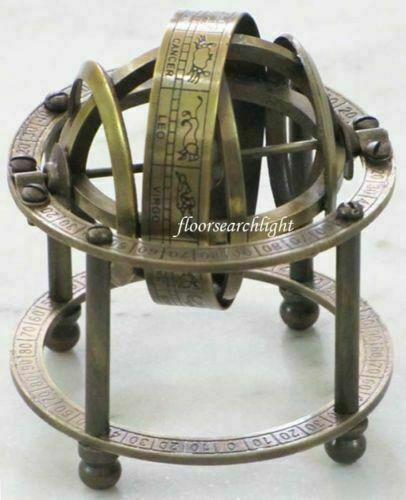 GLOBE BRASS TABLE ARMILLARY NAUTICAL COLLECTIBLE ZODIAC SPHERE GLOBE GIFTED