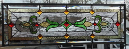 Stained Glass Transom window hanging 30 X 11