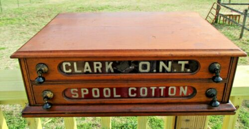 Antique Spool Cabinet CLARK ONT GLASS FRONTS Solid Cherry Drop Pulls 2 Drawers