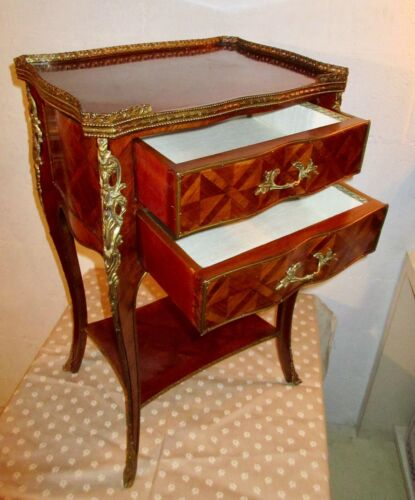 SUPERB Italian Import- LXV 2-Drawer END TABLE- Rosewood Parquetry /Bronze Ormolu