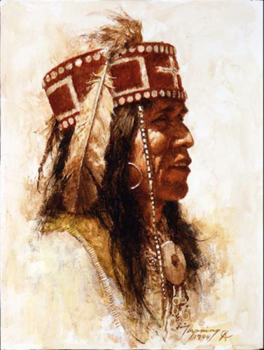 """Howard TERPNING """" Mescalero Apache """" Limited Giclee Canvas art Native Indian"""