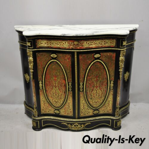 Antique French Napoleon III Ebonized Brass Boulle Inlay Sideboard Buffet Cabinet