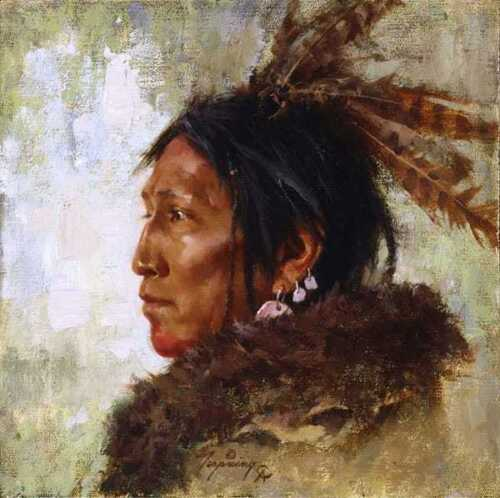 Howard TERPNING Hawk Feathers Signed & Numbered Limited Edition Smallwork Canvas