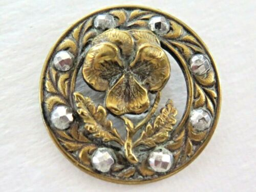 Antique Pierced Metal Pansy Button - Cut Steel Border