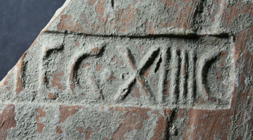 BRICK WITH IMPRINT, 14th Legion, defeat of Queen Boudicca, roof-tile, 114-300 AD