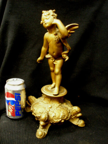 ANTIQUE VICTORIAN SPELTER WINGED NUDE CHERUB FIGURAL LAMP BASE GOLD GILT FINISH