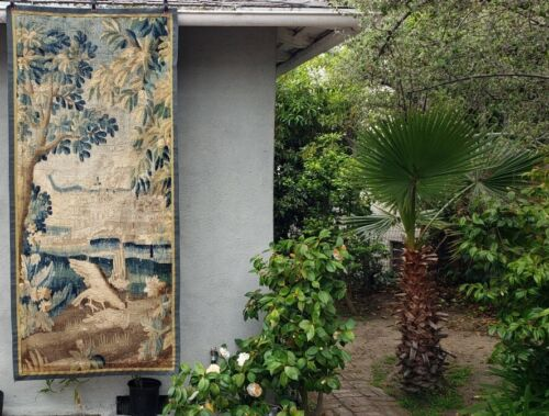 A Good 18th Century Verdure Tapestry with Large Bird