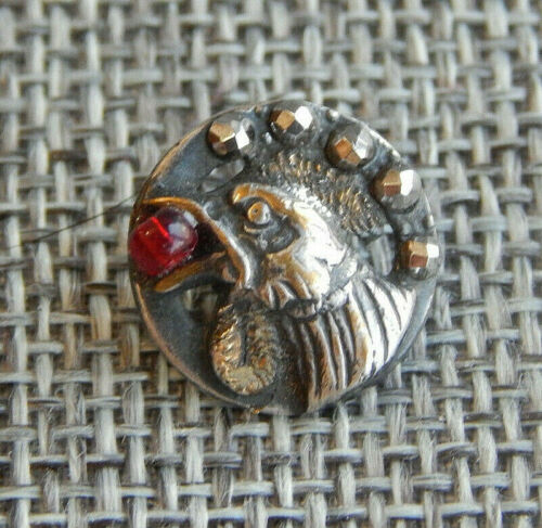"""Antique Vtg OME Button Rooster Red Bead in Mouth Steel Rivets~Aprx:9/16""""~#1515-A"""