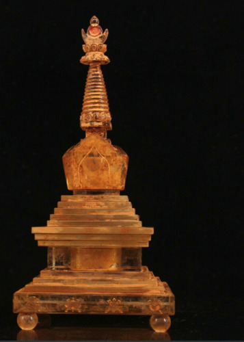 """9.6""""  Rare  China  antique  Tibet  crystal  Two layers  Relic  Bodhi  pagoda"""