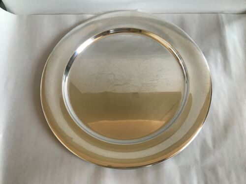 """VINTAGE OLDER TUTTLE STERLING SILVER REVERE REPRODUCTION TRAY 14"""" ROUND USED"""