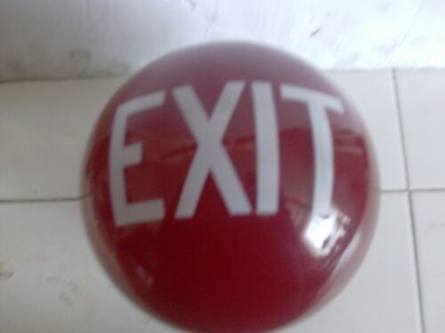 1930's MOVIE THEATRE EXIT RUBY RED GLASS SHADE art deco WALL MOUNT LAMP GLOBE