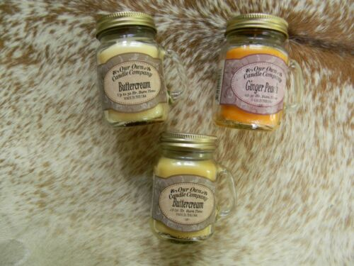 Set of 3 Mason Jar Mini Jar Candles Design Primitive Country