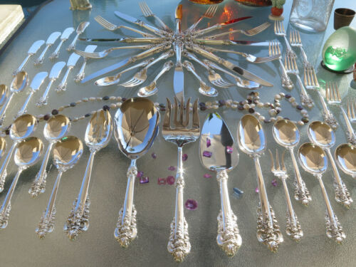 LARGE WALLACE GRAND BAROQUE STERLING SILVER FLATWARE OLD SET SERVERS HEAVY RARE!