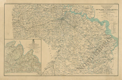Map of south side of James River Virginia c1864 27x18
