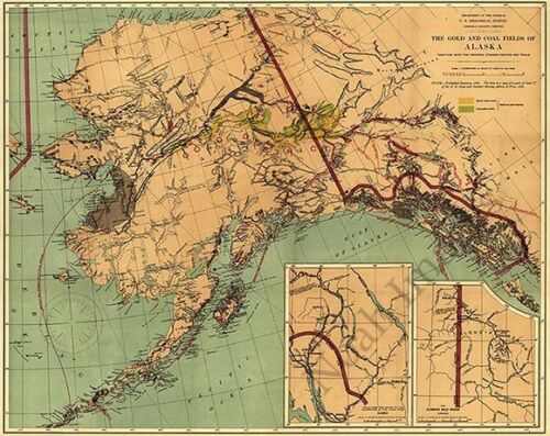 Map of The gold and coal fields of AK c1898 repro 30x24