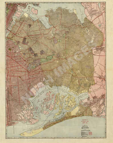 Map of the borough of Queens c1923 repro 24x30