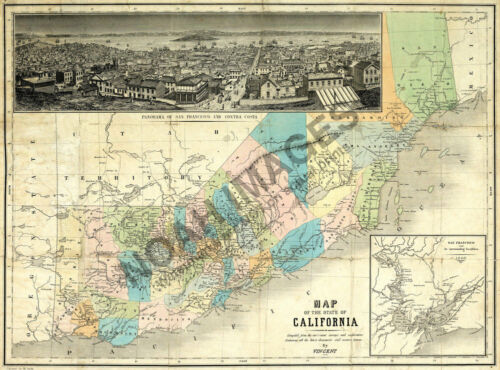 Map of State of California c1860 24x18