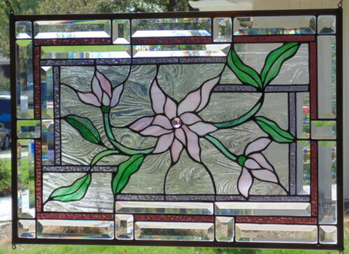 "Stained Glass window hanging 24 3/4 X 18"" Brass Frame, edging"