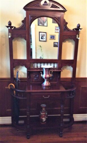Mahogany hall stand with mirror