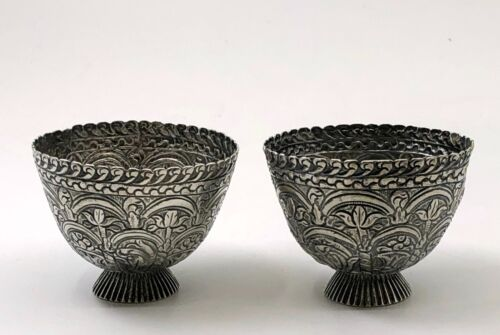 ANTIQUE ANGLO-INDIAN OTTOMAN SILVER REPOUSSE ISLAMIC ZARF CUPS STERLING COFFEE