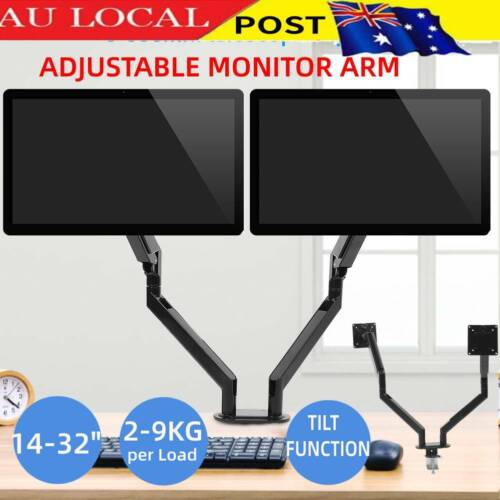 Dual Monitor Stand Computer LED Screen 2 Arms Display Bracket Gas Spring Holder_