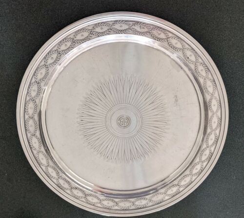 TIFFANY & CO STERLING SILVER 12  INCH COCKTAIL ROUND PLATTER TRAY 27.5 OUNCES