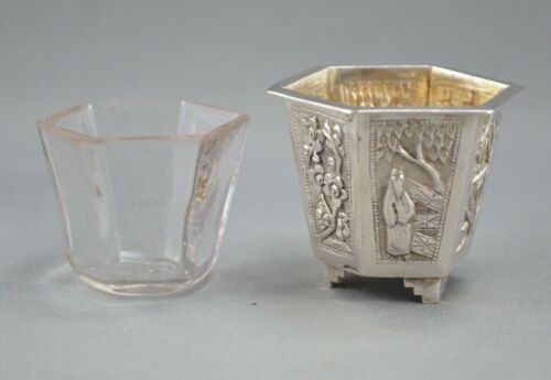 Antique CHINESE EXPORT SILVER - FIGURES, BAMBOO, FLOWERS, - REPOUSSE SALT CELLAR