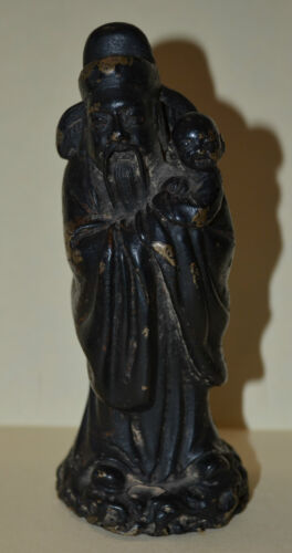 Ming Dynasty Chinese Copper Old Man with Little boy Figurine