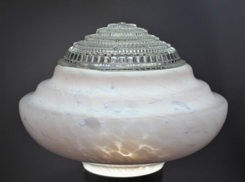 1930s-40s Pink Antique Empire/Beehive Glass Light Shade & Insert Ceiling Light
