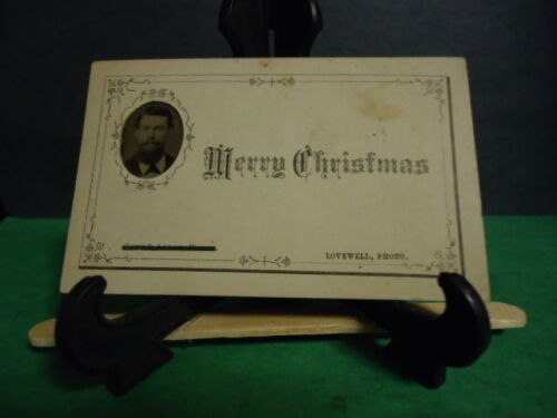 """Dollhoused Sized Tintype on Christmas Greeting Card """"Lovewell Photo"""""""